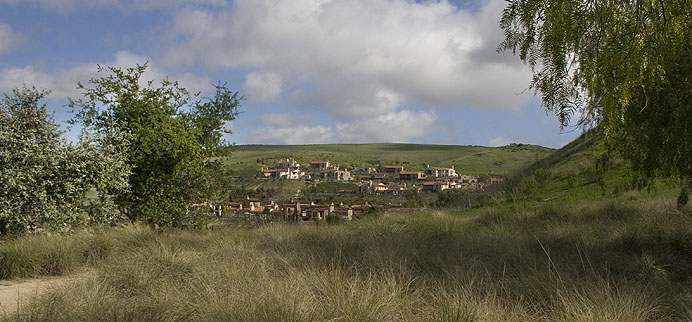 Rolling grassy hills and Mediterranean homes in Turtle Ridge, Irvine, CA