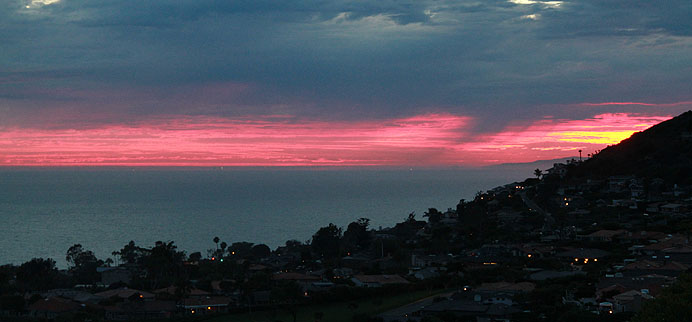 Summer sunset with rain from Monarch Bay Terrace, Dana Point