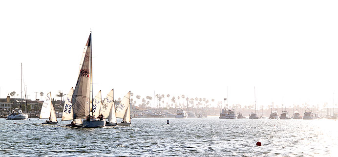 Summer sailing through Newport Harbor & Lido Isle in Newport Beach